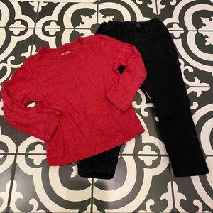 TCP Black skinny Chinos & Red LS Shirt